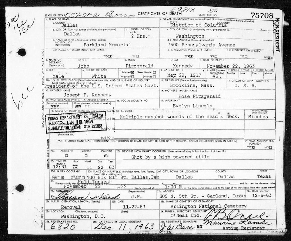This image of a Texas Department of State Health Services document provided by Ancestry.com on Nov. 14, 2013 shows the death certificate of President John F. Kennedy who died on Friday, Nov. 22, 1963. (AP Photo/Texas Department of State Health Services via Ancestry.com)