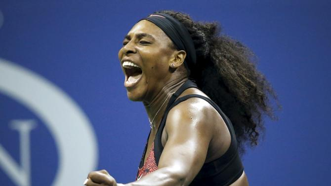 Williams of the U.S. celebrates a point against Mattek-Sands of the U.S. during their match at the U.S. Open Championships tennis tournament in New York