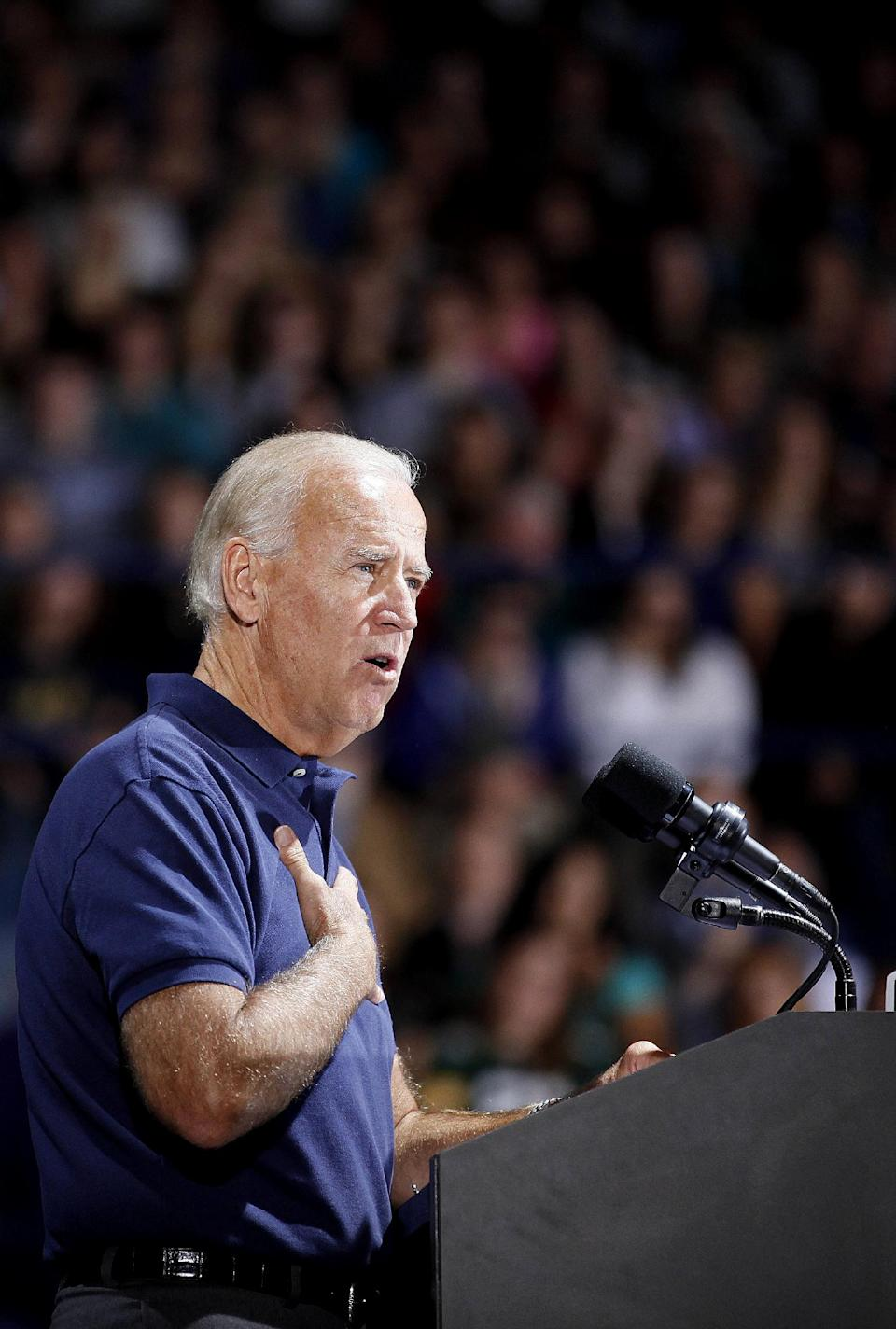 Vice President Joe Biden speaks during a campaign event, Thursday, Sept. 13, 2012, at the Zorn Arena on the University of Wisconsin-Eau Claire campus. (AP Photo/Stacy Bengs)