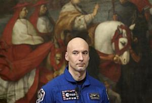 Italian astronaut Parmitano attends a meeting with PM Letta at Chigi palace in Rome