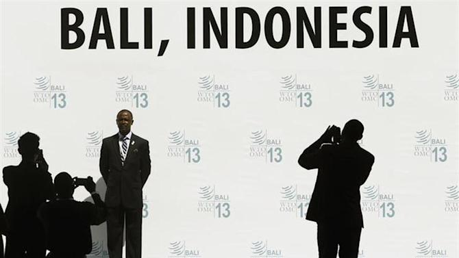 A delegate poses for photos as he waits for the conclusion and closing ceremony of the ninth World Trade Organization (WTO) Ministerial Conference in Nusa Dua, on the Indonesian resort island of Bali December 6, 2013. REUTERS/Edgar Su
