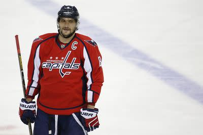 Alex Ovechkin is now trying to shoot actual human beings into the net too