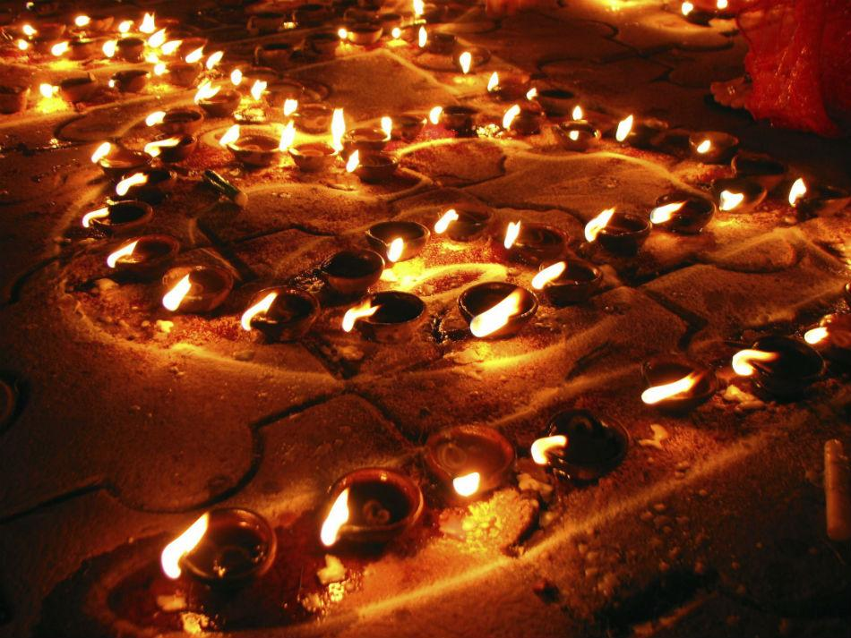 Beautiful diya arrangements