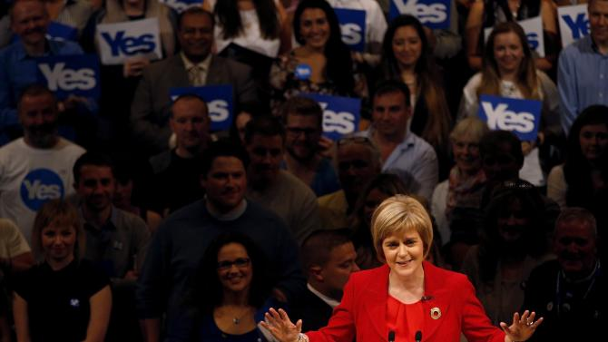 Deputy First Minister of Scotland Nicola Sturgeon speaks at a 'Yes' campaign rally in Perth, Scotland