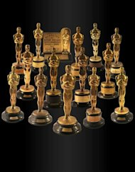 "Handout photo from Nate D. Sanders auction house shows a collection of 15 Oscar statuettes that were auctioned off for more than $3 million on February 28. Highlights of the collection include a Best Screenplay Academy Award for the iconic movie ""Citizen Kane"", given to Herman Mankiewicz in 1941"