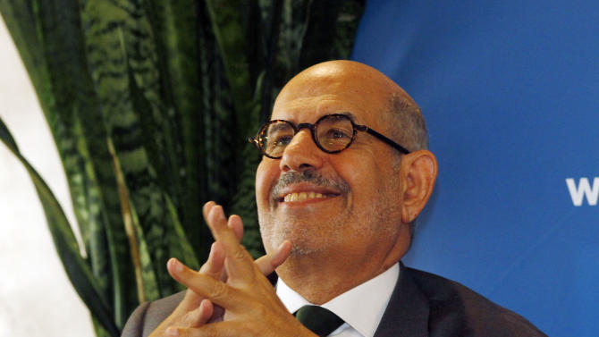 "Former Director General of the International Atomic Energy Agency, IAEA, and Nobel Peace Prize winner Mohamed El Baradei smiles as he speaks to the media in Vienna, Austria, Thursday May 24, 2012. As Egyptians chose their first democratically elected president, reform leader ElBaradei says who wins is less important than establishing national unity. He told The Associated Press that choice between reformist, Islamist or pragmatist pales behind getting Egyptians to agree ""on the basic common values that they're going to live under."" (AP Photo/Ronald Zak)"