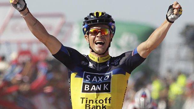 "Team Saxo-Tinkoff's rider Nicolas Roche wins the second stage of the Tour of Spain ""La Vuelta"" cycling race, between Pontevedra and Alto Do Monte Da Groba, in Baiona (Reuters)"