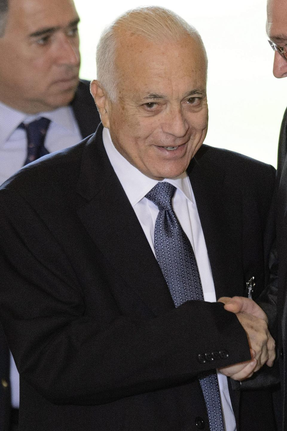 The Secretary General of the Arab League, Nabil al-Araby arrives for a meeting of the Action Group for Syria at the European headquarters of the United Nations,  in Geneva, Switzerland, Saturday, June 30, 2012. (AP Photo/Keystone, Laurent Gillieron)