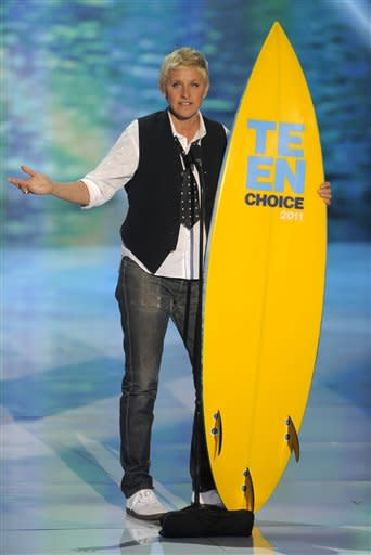 Ellen DeGeneres accepts the award for choice comedian onstage at the Teen Choice Awards on Sunday, Aug. 7, 2011 in Universal City, Calif. (AP Photo/Chris Pizzello)