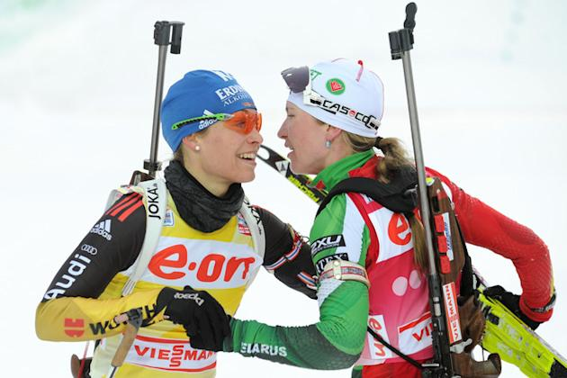 Belarus' Darya Domracheva (R) Celebrates AFP/Getty Images