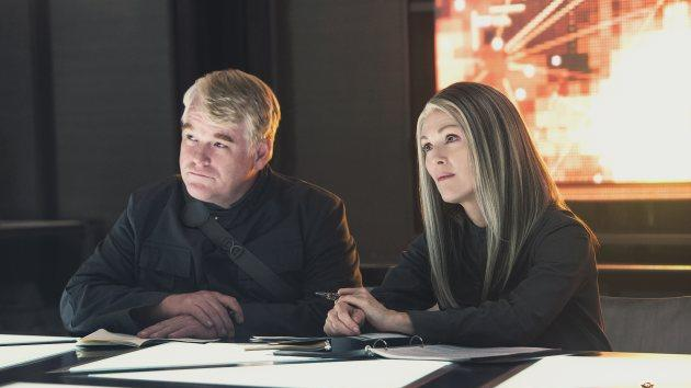 Julianne Moore as District 13's President Coin with Philip Seymour Hoffman as Plutarch Heavensbee in 'The Hunger Games: Mockingjay - Part 1' -- Lionsgate