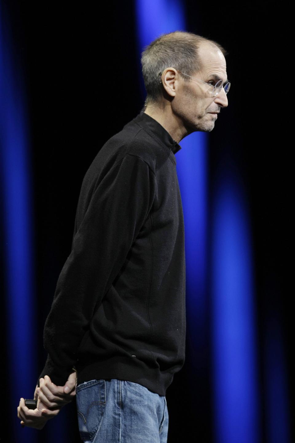 Apple CEO Steve Jobs speaks during a keynote address to the Apple Worldwide Developers Conference in San Francisco, Monday, June 6, 2011.(AP Photo/Paul Sakuma)