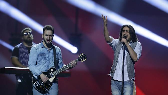 """Dorians of Armenia perform their song """"Lonely Plant"""" during a rehearsal for the final of the Eurovision Song Contest at the Malmo Arena in Malmo, Sweden, Friday, May 17, 2013. The contest is run by European television broadcasters with the event being held in Sweden as they won the competition in 2012, the final will be held in Malmo on May 18. (AP Photo/Alastair Grant)"""