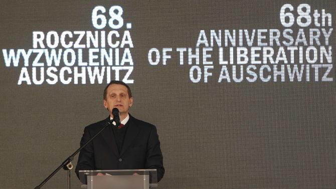 Sergey Naryshkin, Speaker of the Russian Duma, attends the opening of a Russian exhibition at the Auschwitz concentration camp Oswiecim, Poland, Sunday, Jan. 27, 2013. The ceremony is marking the 68th anniversary of the liberation of Auschwitz by Soviet troops and to remember the victims of the Holocaust. (AP Photo/Czarek Sokolowski)