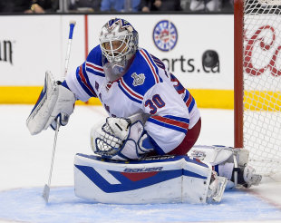 Rangers goalie Henrik Lundqvist was upset with the non-call on Dwight King's goal for L.A. (AP)