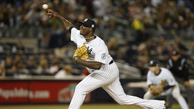 New York Yankees starting pitcher Michael Pineda delivers in the sixth inning of the Yankees 5-0 shutout of the Baltimore Orioles in a baseball game at Yankee Stadium in New York, Monday, Sept. 22, 2014.  (AP Photo/Kathy Willens)