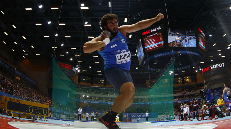 Argentina's Lauro competes in men's shot put final at world indoor athletics championships in Sopot