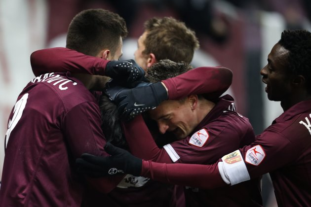 FC Servette's Vitkieviez celebrates after scoring against FC Lausanne Sport during their Swiss Super League soccer match in Geneva