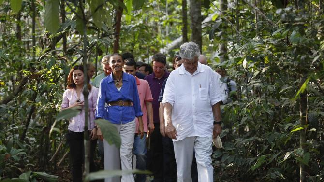 Presidential candidate Marina Silva of the Brazilian Socialist Party visits the Amazonian Museum in Manaus