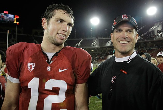 Andrew Luck and Jim Harbaugh, back in their Stanford days. (AP)