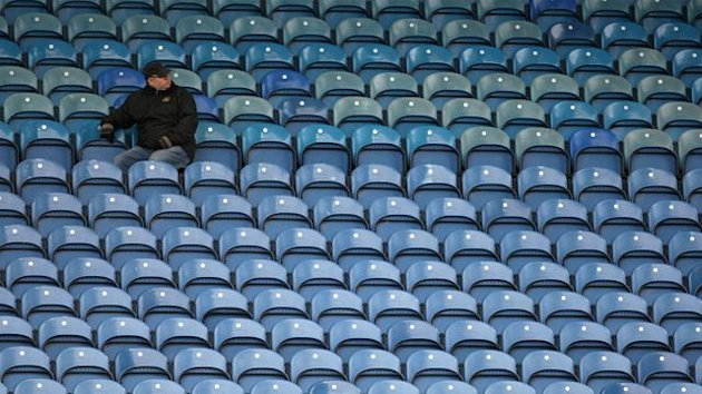 FOOTBALL A Sheffield Wednesday supporter sits alone in the stands at Hillsborough
