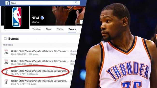 The NBA's Official Facebook Page Reveals That The Warriors Will Win Game 7