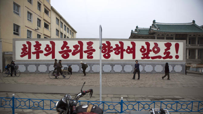 "A propaganda billboard, which reads ""Forward to the Ultimate Victory"" in Korean stands in central Kaesong, North Korea, Tuesday, April 23, 2013. For weeks, North Korea has threatened to attack the U.S. and South Korea for holding joint military drills and for supporting U.N. sanctions. Washington and Seoul said they've seen no evidence that Pyongyang is actually preparing for a major conflict, though South Korean defense officials said the North appears prepared to test-fire a medium-range missile. (AP Photo/David Guttenfelder)"