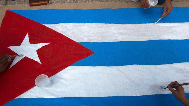 File photo of a painting of Cuba's flag