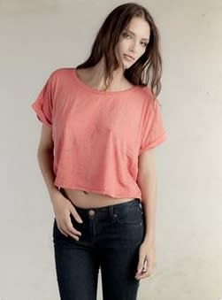 Alternative Apparel Molly crop burnout rolled sleeve tee, $44