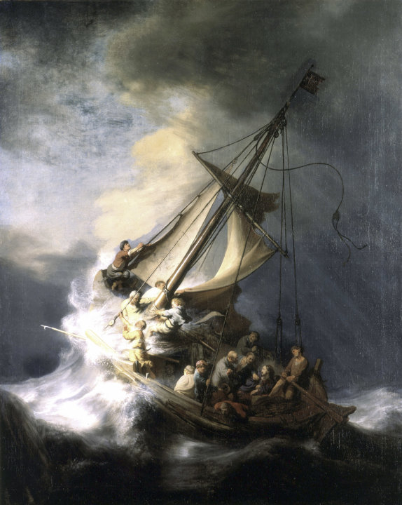 "FILE - In this undated photograph released by the Isabella Stewart Gardner Museum shows the painting ""The Storm on the Sea of Galilee"" by Rembrandt, one of more than a dozen works of art burglars stol"