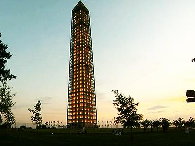 Raw: Washington Monument Lit Up During Repairs