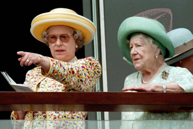 FILE  This  Saturday June 8 1996,  file photo shows Britain's Queen Elizabeth II, left, and Queen Elizabeth the Queen Mother studing the field at Epsom Racecourse, south  of London, before the run
