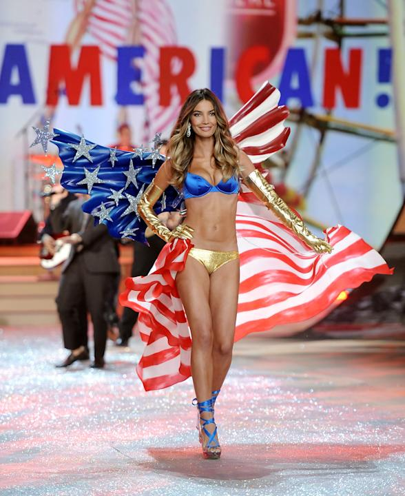 Model Lily Aldridge walks the runway during the 2012 Victoria's Secret Fashion Show on Wednesday Nov. 7, 2012 in New York. The show will be Broadcast on Tuesday, Dec. 4 (10:00 PM, ET/PT) on CBS. (
