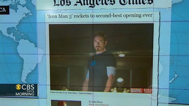"Headlines at 8:30: ""Iron Man 3"" wins big in debut weekend"