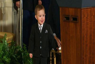 Raw:  Medal of Honor Winner's Son Steals Show