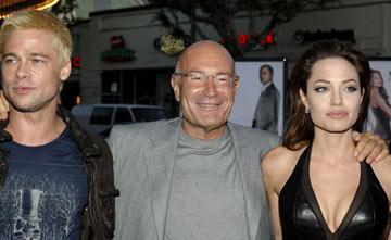 Brad Pitt , producer Arnon Milchan and Angelina Jolie at the Los Angeles premiere of 20th Century Fox's Mr. & Mrs. Smith