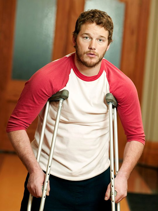 "Chris Pratt stars as Andy in ""Parks and Recreation."""