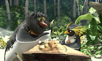 Geek (voiced by Jeff Bridges ) and Cody Maverick (voiced by Shia LaBeouf ) in Columbia Pictures' Surf's Up