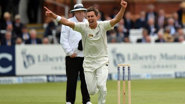New Zealand's Trent Boult celebrates taking the wicket of England's Jonathan Trott (not pictured) for 39 during the first test at Lords Cricket Ground, London (PA Sport)
