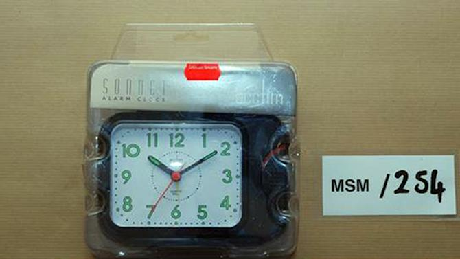 This undated photo made available by West Midlands Police shows a clock purchased as a timing device found in the safe house in White Street, Birmingham, England. Three young British Muslims were convicted Thursday, Feb. 21, 2013, of plotting terrorist bombings that prosecutors said were intended to be bigger than the 2005 London transit attacks. A London jury found Irfan Naseer, 31, and Irfan Khalid and Ashik Ali, both 27, guilty of being central figures in the foiled plot to explode knapsack bombs in crowded areas — attacks potentially deadlier than the July 7, 2005 explosions on subway trains and a bus which killed 52 commuters. Judge Richard Henriques told the men — who had been arrested in September 2011 — they will all face life in prison when sentences are imposed in April or May for plotting a major terrorist attack in Birmingham, a city of roughly 1 million people located 120 miles (nearly 200 kilometers) northwest of London. (AP Photo/West Midlands Police)