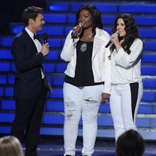 Candice Glover and Kree Harrison at the &#39;American Idol&#39; Season 12 Grand Finale at the Nokia Theater L.A. Live, May 16, 2013 -- FOX