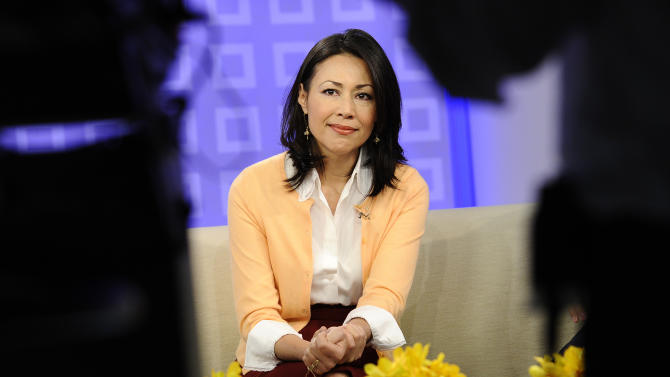 """FILE - This July 27, 2011 file photo released by NBC shows co-host Ann Curry on the """"Today"""" show in New York.  Curry offered a tearful goodbye as co-host of NBC's """"Today"""" show on Thursday, June 28, 2012. Curry, who joined the show as a news anchor in 1997, will remain at NBC News to be anchor-at-large and national and international correspondent. (AP Photo/NBC, Peter Kramer)"""