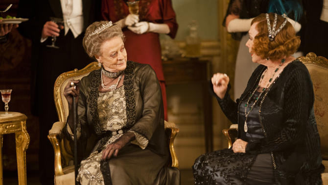 """This undated publicity photo provided by PBS shows Maggie Smith as the Dowager Countess, left, and Shirley MacLaine as Martha Levinson from the TV series, """"Downton Abbey."""" The third season premiere airs in the U.S. on Sunday, Jan. 6, 2013 on PBS. (AP Photo/PBS, Carnival Film & Television Limited 2012 for MASTERPIECE, Nick Briggs)"""