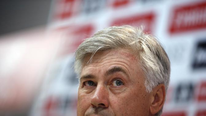 """Real Madrid's coach Ancelotti participates in a news conference on the eve of their Spanish first division """"Clasico"""" soccer match against Barcelona in Madrid"""