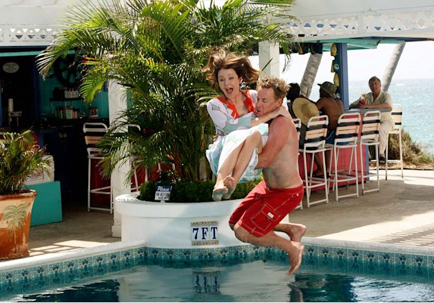 "Jordan and Dr. Cox take a plunge into the pool as Dr. Kelso watches from the bar in the first of a two-part episode of ""Scrubs."""