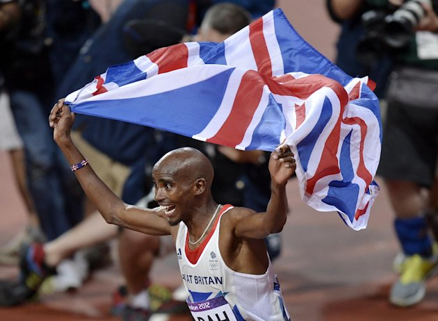FILE - In this Saturday, Aug. 4, 2012 file photo, Britain&#39;s Mo Farah celebrates winning gold in the men&#39;s 10,000-meter final during the athletics in the Olympic Stadium at the 2012 Summer Olympics, London. Wars aside, losing used to be as British as milky tea. Growing up in Not-So-Great Britain meant living with rain and the cold, hard fact that the country which invented modern sports _ cricket, football, rugby, tennis, table tennis, you name it _ had since become rubbish at them. This was a nation so starved of sporting success that it went giddy when five Scottish women won Olympic gold in _ how embarrassing _ curling. So can a summer of victories turn around British fortunes forever or are Andy Murray, Mo Farah, Bradley Wiggins and their merry band of winners merely proof that, eventually, even the mangiest dog has its day? (AP Photo/Martin Meissner, File)
