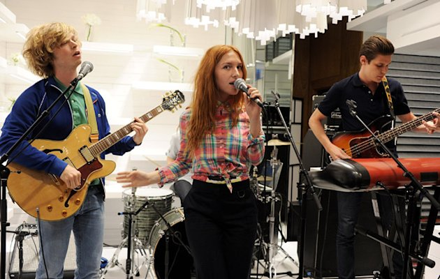 Alexandre de la Baume (L) and Josephine de la Baume perform with their band Singtank at the launch of Lacoste's new London Flagship store in Knightsbridge