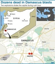 Graphic map of Syria showing central Damascus and the suburb of Qazzaz. The UN Security Council condemned the deadliest bomb attacks of Syria&#39;s 14-month uprising, urging all sides to stick to an international peace plan after at least 55 people were killed