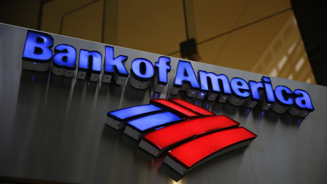 In this Tuesday, Jan. 14, 2014, photo, a Bank of America sign is displayed in Philadelphia. Bank of America Corp. reports quarterly financial results before the market opens on Wednesday, Jan. 15, 2014. (AP Photo/Matt Rourke)
