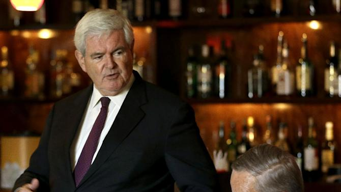 Former House Speaker Newt Gingrich speaks during a fundraiser for Missouri Republican Senate candidate, Rep. Todd Akin, R-Mo., right, Monday, Sept. 24, 2012, in Kirkwood, Mo. Akin is seeking to unseat incumbent Sen. Claire McCaskill, D-Mo. in the November election. (AP Photo/Jeff Roberson)